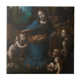 virgin of the rocks small square tile