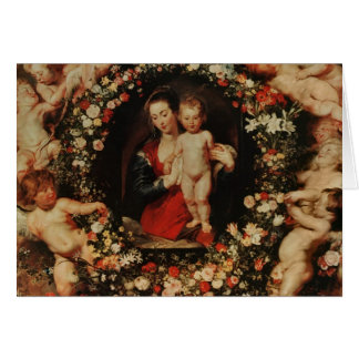 Virgin with a Garland of Flowers, c.1618-20 Greeting Card