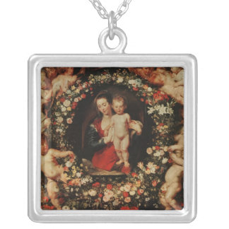 Virgin with a Garland of Flowers, c.1618-20 Square Pendant Necklace