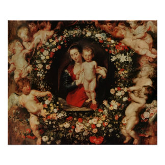 Virgin with a Garland of Flowers, c.1618-20 Poster