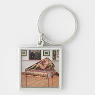 Virginals, painted by Roger Fry Silver-Colored Square Key Ring