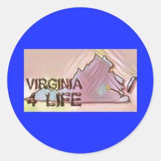"""Virginia 4 Life"" State Map Pride Design Classic Round Sticker"