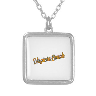 Virginia Beach neon sign in orange Silver Plated Necklace