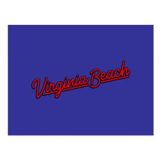 Virginia Beach neon sign in red Postcard