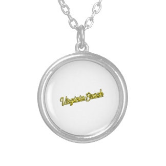 Virginia Beach neon sign in yellow Silver Plated Necklace