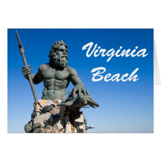 Virginia Beach Poseidon Statue w White Text Card