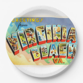 Virginia Beach Virginia VA Vintage Travel Postcard 9 Inch Paper Plate