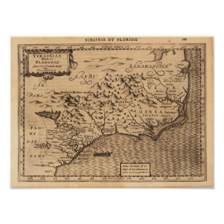 Virginia & Florida Mercator Gerard 1632 Poster