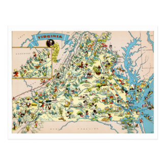 Virginia Funny Map Post Cards