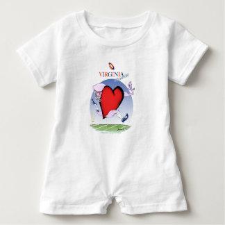 Virginia head heart, tony fernandes baby bodysuit