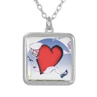 Virginia head heart, tony fernandes silver plated necklace