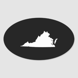 Virginia in White and Black Oval Sticker
