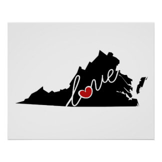 Virginia Love!  Gifts for VA Lovers Poster