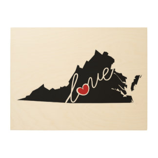 Virginia Love!  Gifts for VA Lovers Wood Prints