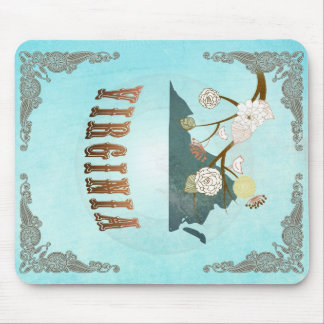 Virginia Map With Lovely Birds Mousepads
