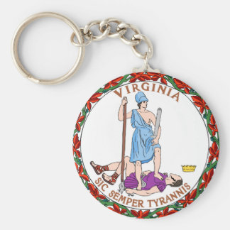 Virginia state flag seal united america country re basic round button key ring