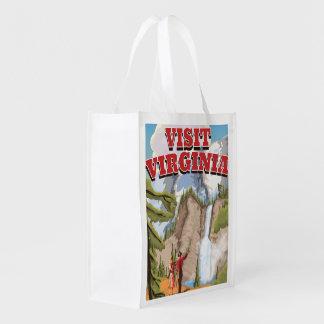 Virginia State vintage travel poster Grocery Bag