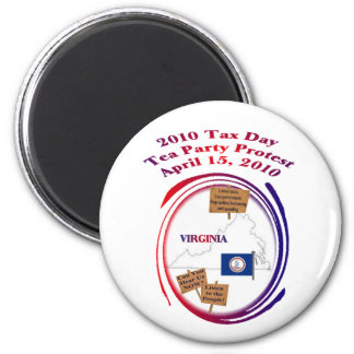 Virginia Tax Day Tea Party Protest 6 Cm Round Magnet