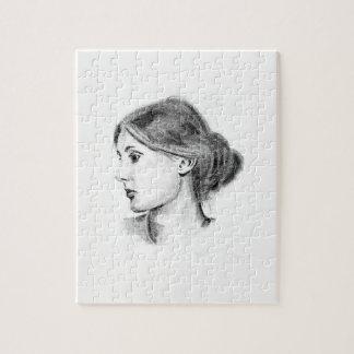 Virginia Woolf soft pencil portrait Jigsaw Puzzle