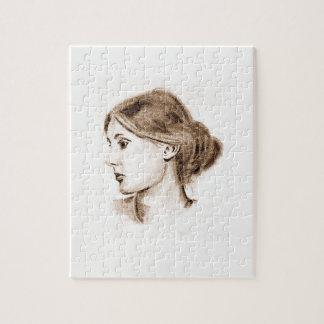 Virginia Woolf soft pencil portrait sepia tone Jigsaw Puzzle