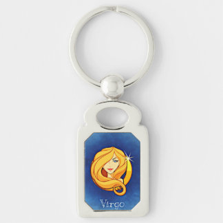 Virgo Astrological Zodiac Sign Silver-Colored Rectangle Key Ring