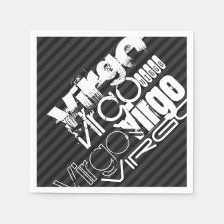 Virgo; Black & Dark Gray Stripes Paper Napkins