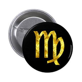 virgo-black-gold-buttons 6 cm round badge