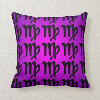 Virgo Black Magenta Purple Horoscope Sign Cushion