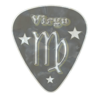 Virgo chrome symbol pearl celluloid guitar pick