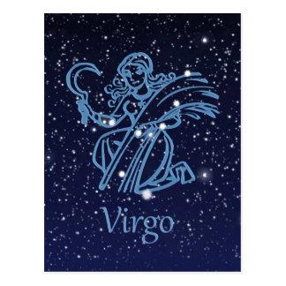 Virgo Constellation & Zodiac Sign with Stars Postcard