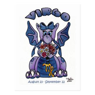 Virgo cute zodiac baby little wings dragon postcard