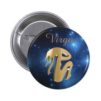 Virgo golden sign 6 cm round badge