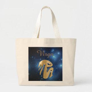 Virgo golden sign large tote bag