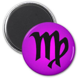 Virgo Horoscope Sign Magenta Purple 6 Cm Round Magnet