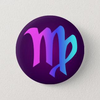 Virgo Horoscope Sign Pink Blue Aqua Purple 6 Cm Round Badge