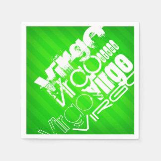 Virgo; Neon Green Stripes Disposable Napkin