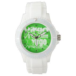 Virgo; Neon Green Stripes Wristwatches