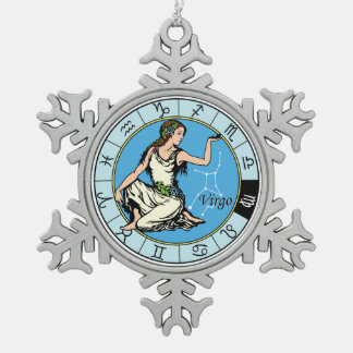 virgo snowflake pewter christmas ornament