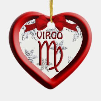 Virgo Red Heart Snowflake Christmas Ornament