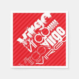 Virgo; Scarlet Red Stripes Paper Napkins