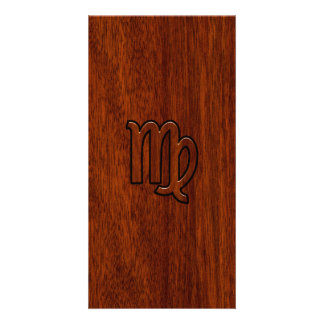 Virgo Sign in Mahogany wood style Personalised Photo Card