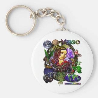 Virgo Zodiac Art Basic Round Button Key Ring