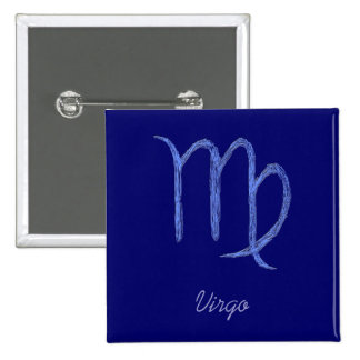 Virgo. Zodiac Astrological Sign. Blue. 15 Cm Square Badge