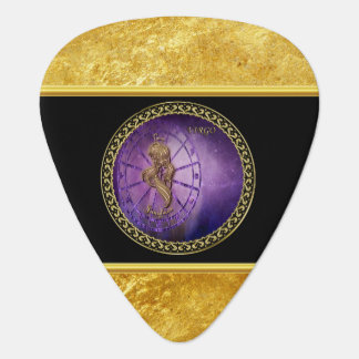 virgo Zodiac Astrology black and gold texture Plectrum