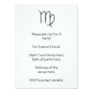 Virgo. Zodiac Astrology Sign. Black. 17 Cm X 22 Cm Invitation Card