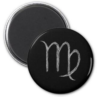 Virgo. Zodiac Astrology Sign. Black. 6 Cm Round Magnet