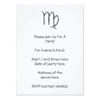 Virgo. Zodiac Astrology Sign. Black. Card