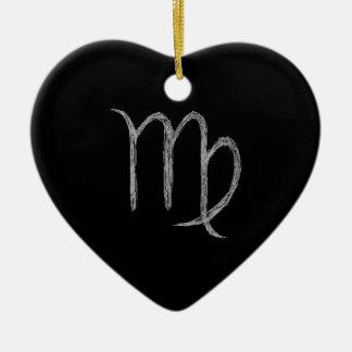 Virgo. Zodiac Astrology Sign. Black. Ceramic Heart Decoration