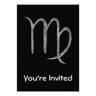 Virgo. Zodiac Astrology Sign. Black. Custom Invite