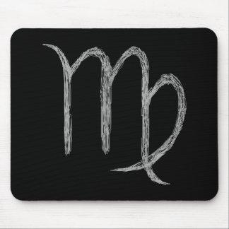 Virgo. Zodiac Astrology Sign. Black. Mouse Pads